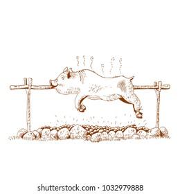 Pig on the spit, vector illustration.