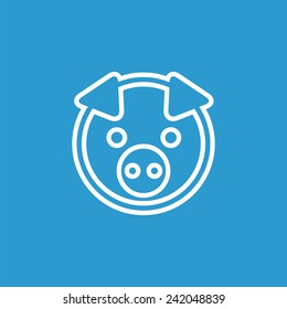 pig outline icon, isolated, white on the blue background. Exclusive Symbols