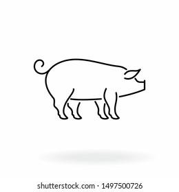 Pig outline icon. Livestock vector illustration. Farm animal symbol isolated on white background.