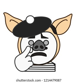 pig panto mime that is mimicing crying expression w. face & gestures, classic pantomime artist w. white sad mask and tear makeup wearing traditional french costume w. striped shirt & beret with pompon