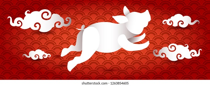 Pig paper cut 3d banner design. New Year poster, greeting card template. Chinese style illustration