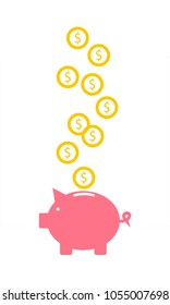 Pig piggy bank with coins vector illustration in flat style. The concept of saving or save money or open a bank deposit. The idea of an icon of investments in the form of a toy pig piggy bank.