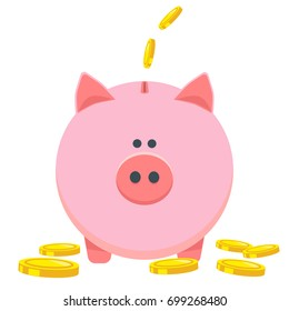 Pig piggy bank with coins vector illustration in flat style. Concept for mobile app, saving or save money or open a bank deposit. The idea of an icon of investments in the form of a piggy bank.