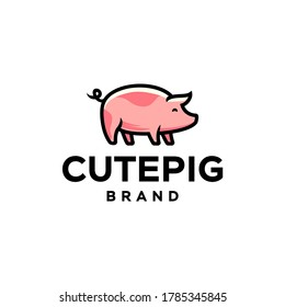 pig piglet Logo mascot and icon or cartoon template vector stock illustration