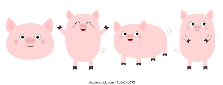 Pig piglet set line. Cute cartoon funny baby character.