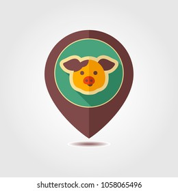Pig pin map icon. Farm animal Map pointer. Map marker. Graph symbol for your web site design, logo, app, UI. Vector illustration
