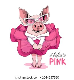Pig in a pink dress and in a sunglasses posing like a Superstar. Vector illustration.