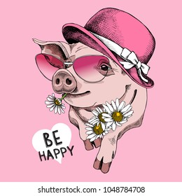 Pig in a pink sunglasses and in a women's hat with a Chamomile. Vector illustration.