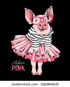 Pig posing like a Superstar in a striped cardigan, in a pink tutu skirt and with a glasses. Vector illustration.