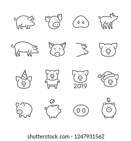 Pig related icons: thin vector icon set, black and white kit