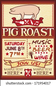 pig roast poster (barbecue party design)
