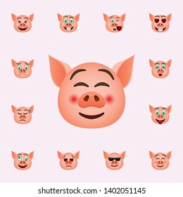 Pig in rolled his eyes emoji icon. Pig emoji icons universal set for web and mobile