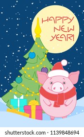"""Pig in Santa's hat and scarf near the Christmas tree with gifts and the moon. Inscription """" Happy new year!"""" Symbol of the new year in the Chinese calendar. 2019. Vector."""