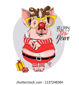 Pig in a Santa's red costume and in a deer mask with a glasses. Happy new year - lettering quote. Christmas card, poster, t-shirt composition, hand drawn style print. Vector illustration.