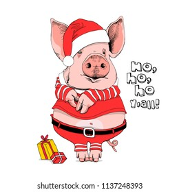 Pig in a Santa's red costume and with a gifts. Ho, ho, ho y'all  - lettering quote. Christmas card, poster, t-shirt composition, hand drawn style print. Vector illustration.