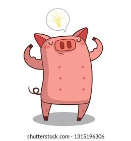 Pig for saving idea Vector illustration. - Vector