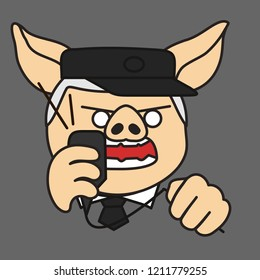 pig security officer, surveillance watchman, train station dispatcher or traffic controller in uniform with cap & tie that is shouting into a mic of a loudspeaker while squeezing a cord in anger