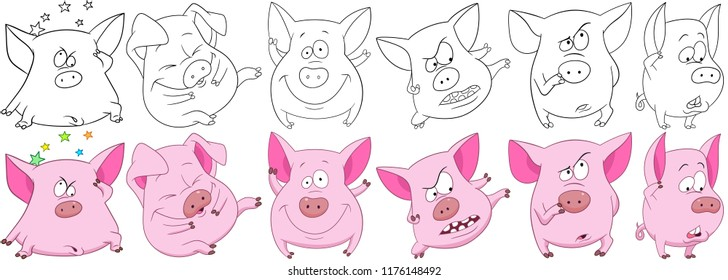 Pig set. Funny pink pigs - 2019 Chinese New Year symbols. Cartoon characters for kids coloring book, colouring pages, t-shirt print, icon, logo, label, patch, sticker.