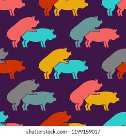 Pig sex pattern eamless. Piggy intercourse background. Pigs ornament. Farm Animal reproduction