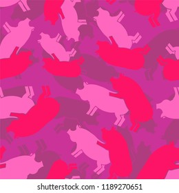 Pig sex pink army pattern eamless. Piggy intercourse military background. soldiery Pigs ornament. Farm Animal reproduction. Vector war texture