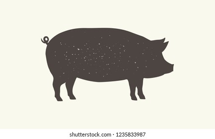 Pig silhouette with grunge texture isolated on white background. Vintage design element for logo, emblem, poster. Pig - Farm animal. Vector illustration