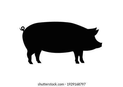 Pig silhouette icon. Vector EPS 10.
