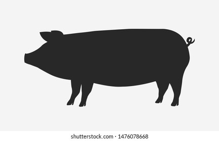 Pig silhouette isolated on white background. Vector illustration