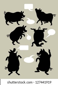 Pig Silhouette Symbols Set. Very smooth and detail vector with speech blank bubble. You can put your own text in the bubble. Easy to change color. Use Adobe Illustrator 8 or higher to edit vector file