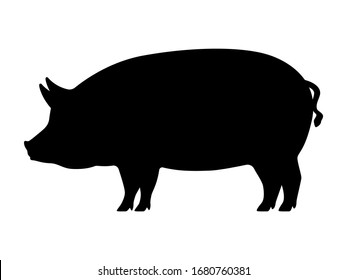 Pig silhouette. Vector illustration of black icon logo pig silhouette isolated on white. Outline shadow shape pork, side view profile.