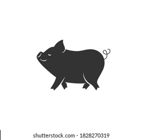 Pig silhouette vector illustration. Black and white happy pork logo in simple cartoon flat style. Isolated on white background.