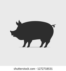 Pig silhouette vector illustration. Chinese year of the pig concept