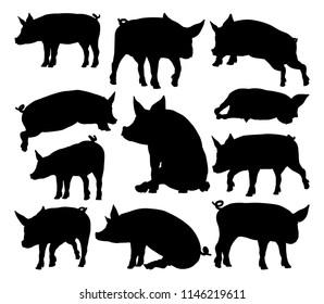 A pig silhouettes farm animal graphics set