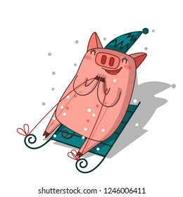 Pig is sledding.