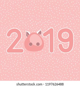 Pig snout with numbers on pink background. Vector image
