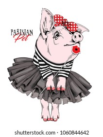 Pig in a striped cardigan, in a black tutu skirt, in a red polka dot headband and with a Lips Photo Booth. Vector illustration.