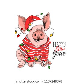 Pig in a striped cardigan, in a Santa's red cap and with a Light Garland. Happy new year - lettering quote. Christmas card, poster, t-shirt composition, hand drawn style print. Vector illustration.
