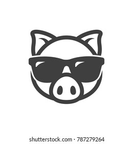 Pig in sunglasses icon. Piggy logo