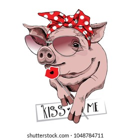 Pig in a sunglasses and in a red polka dot headband with a lips for photo booth prop. Vector illustration.