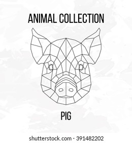 Pig swine hog sow head geometric lines silhouette isolated on white background vintage vector design element illustration