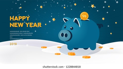 Pig is a symbol of the 2019 Chinese New Year. Happy new year 2019 vector illustration, Christmas card, Year of opportunities for startup launch, start of business project. Big money, big solution!