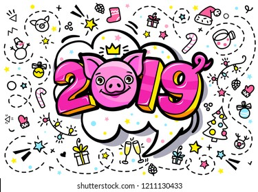 Pig is a symbol of 2019 new year. Smiling cute Pig with 2019 on white background in pop art style . Vector illustration.