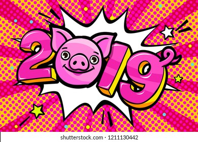 Pig is a symbol of 2019 new year. Smiling cute Pig with 2019 on pink background in pop art style . Vector illustration.