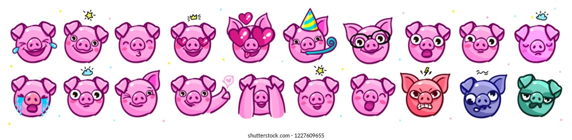 Pig is a symbol of 2019 new year. Head of the Emoji Pig in pop art style. Vector illustration.