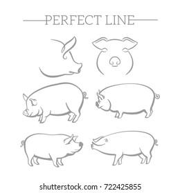 Pig symbol, logo, emblem. Contour Design.