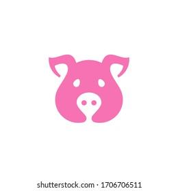 Pig Symbol. Web Icon Logo Template Design Element.