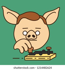 pig telegrapher that is operating his vintage electro mechanical broadcaster to send a telegram, radio telegraph operator sending morse code encoded text message using retro transmitter device