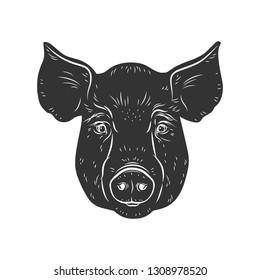 Pig vector head isolated on white background. Hog, pork, piglet, swine, boar. Farm or shop meat logo, icon, sign, emblem, symbol, stamp. Retro ink engraving style. Hand drawing illustration.
