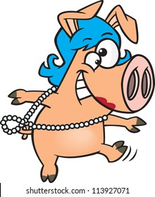 Pig wearing a blue wig and pearl necklace dancing