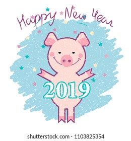 Pig year funny picture, vector illustration