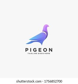 Pigeon Beautiful Pose Illustration Vector Logo.